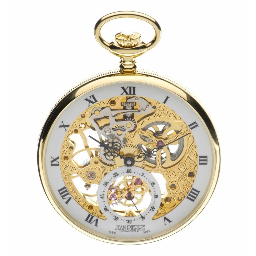 นาฬิกาพก Jean Pierre Of Switzerland รุ่น G252PM, Open Face Gold-Tone Mechanical Pocket Watch.jpg