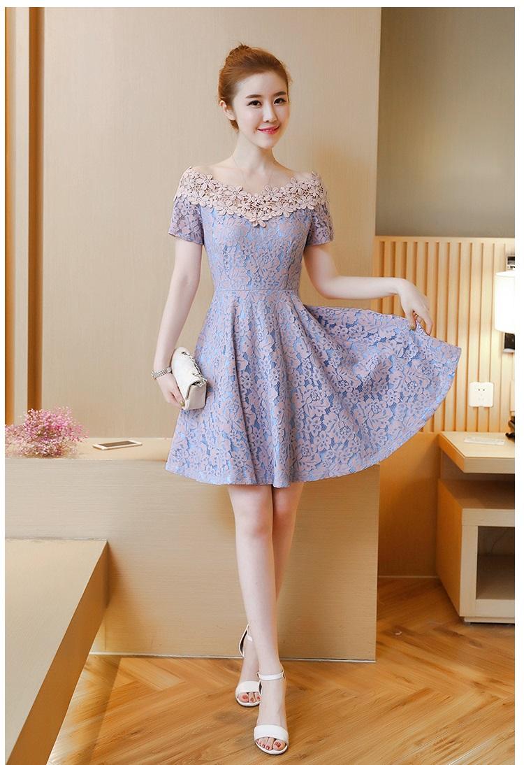ชุดเดรสออกงาน ไปงาน สีชมพู สวยหวานน่ารักสไตล์เกาหลี ผ้า